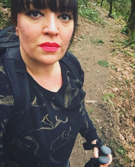 """I put on make-up for my first """"hike"""" post-accident. This is off of Leif Erickson in Forest Park."""