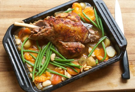 Leg of lamb with apricots and butter beans