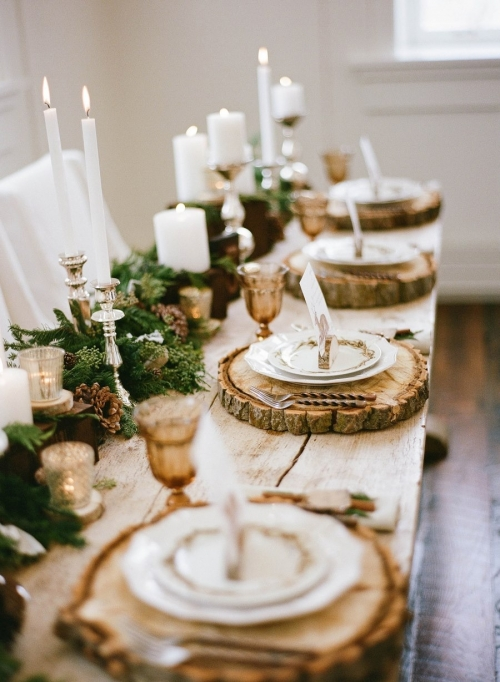 Holiday Table with Wood Chargers
