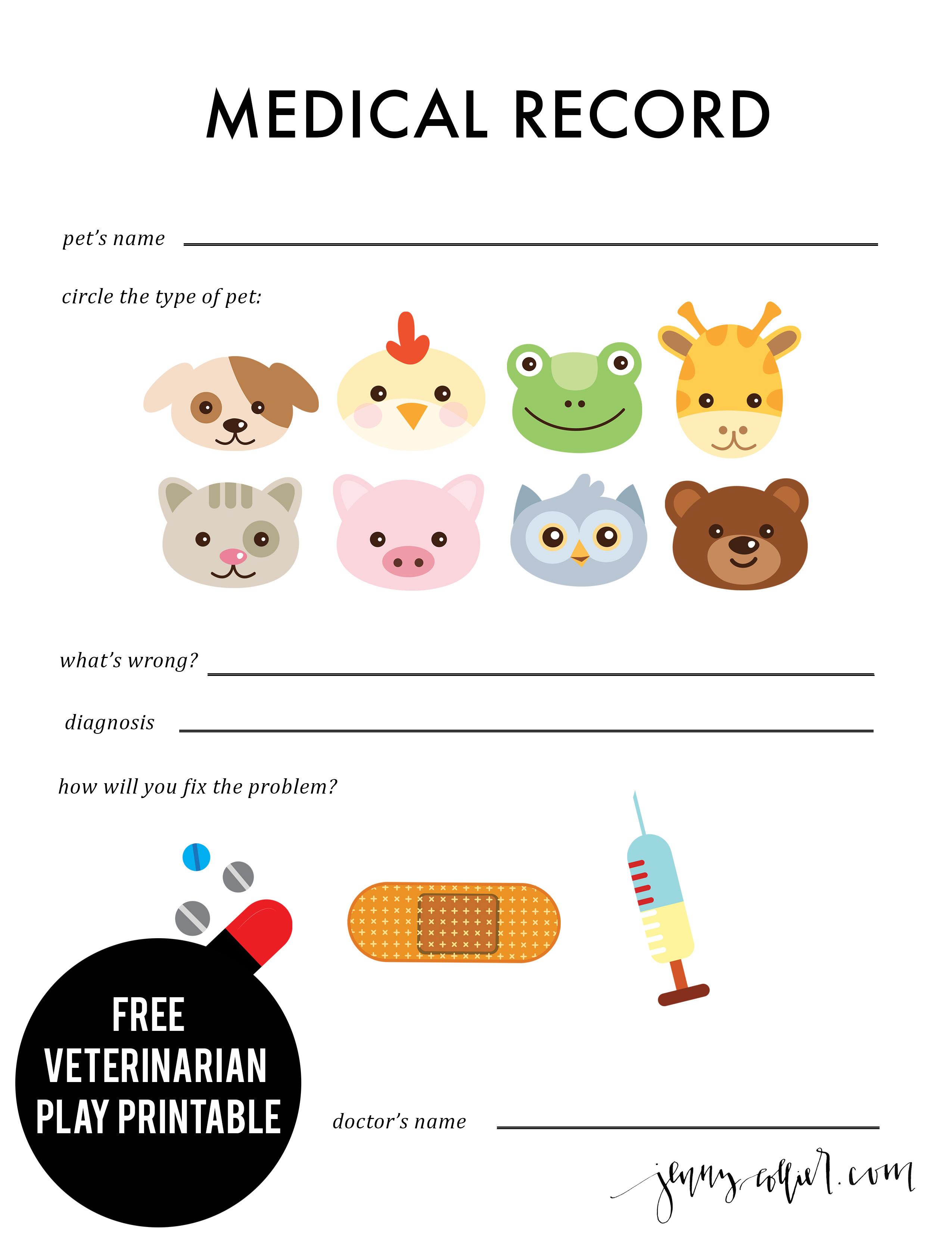 Veterinarian Play Printables Jenny Collier Blog