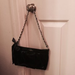 Small Evening Bag in Black Patent with Bow Detail