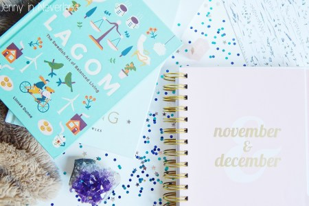 Notebook with confetti and crystals