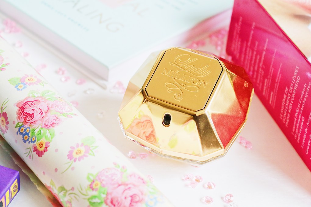 Close up photo of Paco Rabanne Lady Million gold perfume bottle