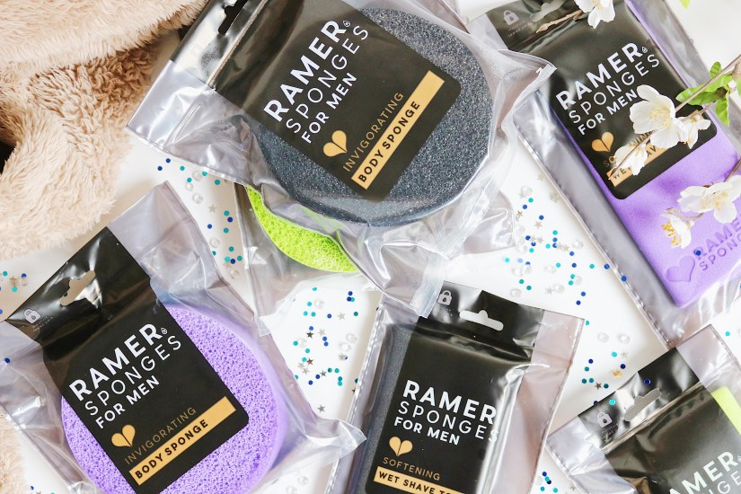 Father's Day Gift Guide: Flat lay image of purple, black and green sponges and shaving towels from a brand called Ramer