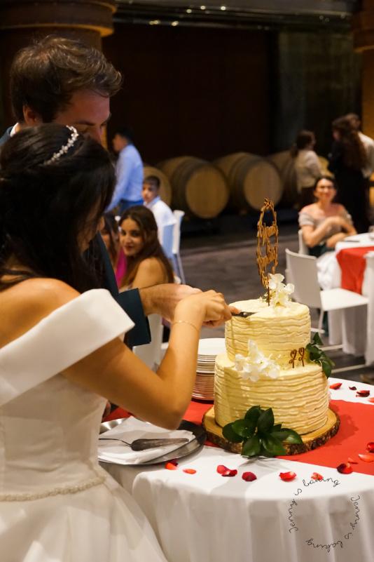 Anschnitt einer Hochzeitstorte