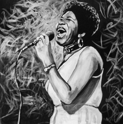 Aretha Franklin Painted Portrait
