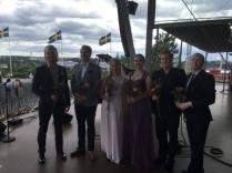 Från vänster: Wiktor Sundqvist, Ole Aleksander Bang, Matilda Lindholm, Karin Osbeck, Pelle Hansen, cellist, Samuel Skönberg, pianist.