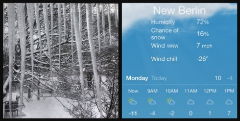 Yep, you read that right: -26 wind chill for New Berlin today!
