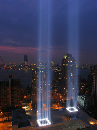 9/11 memorial in lights tribute twin towers never forget