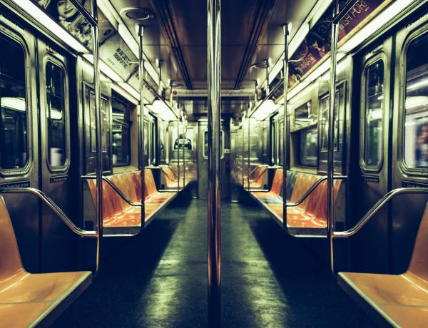 empty NYC subway train