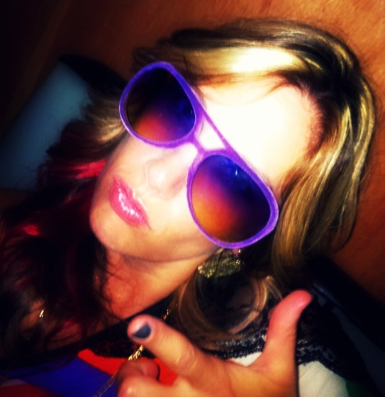 Out til 4 a.m. in my purple velvet shades