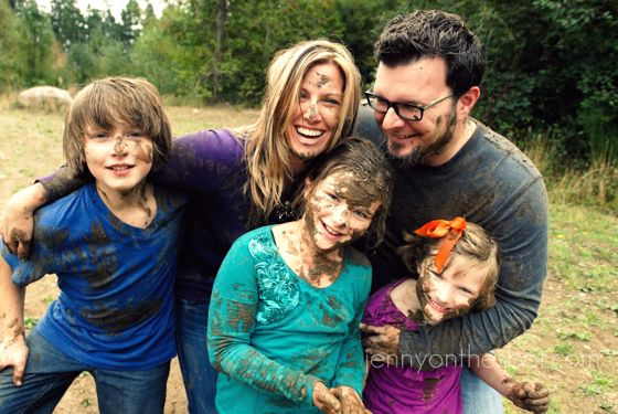 Family in the mud