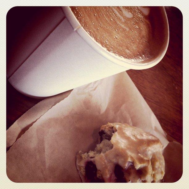 Lemon blueberry scone and double tall lattte