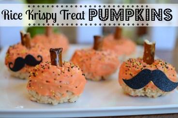 Halloween Treats: Rice Krispy Treat Pumpkins by @jennyonthespot