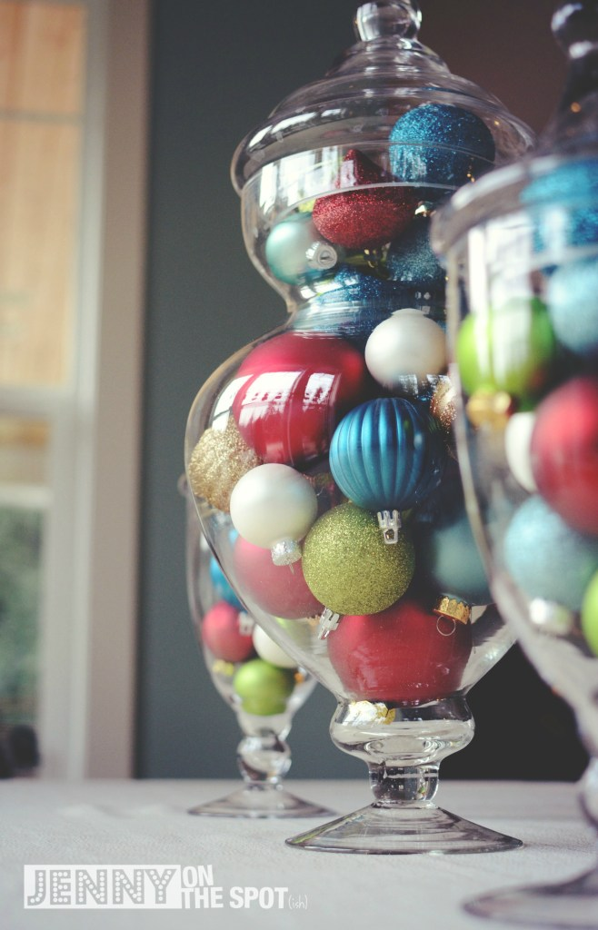 Colored ornaments in glass jars by @jennyonthespot