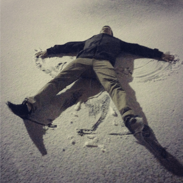 snow angels in a parking lot