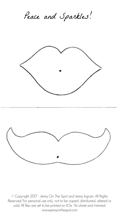 Free printable! Lips and mustache template for Valentines Day via @jennyonthespot