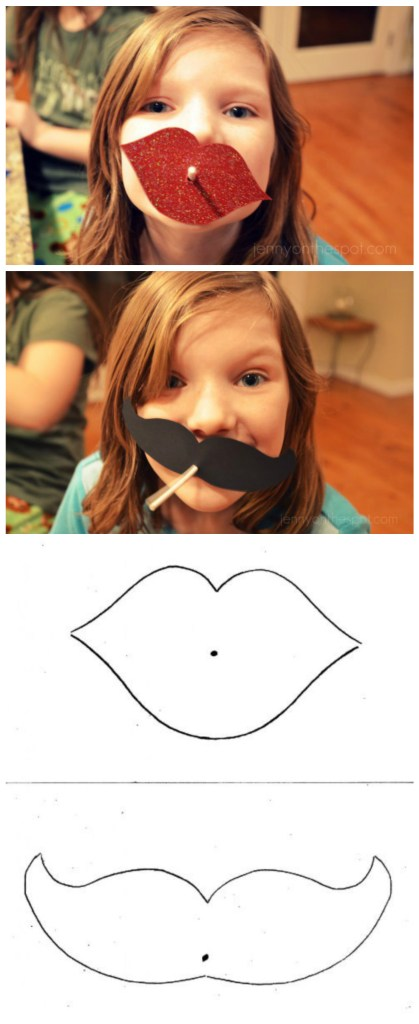 Free Printables! Lips and mustache lollipop valentines