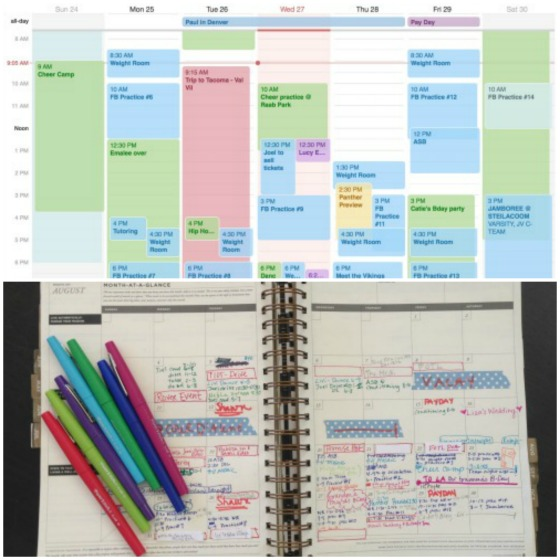 My calendar sytem - digital and paper - and COLOR CODING!