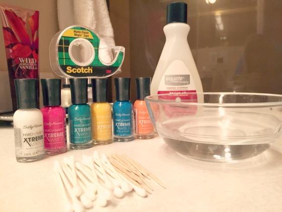 Water Marble Nail Art supplies via @jennyonthespot