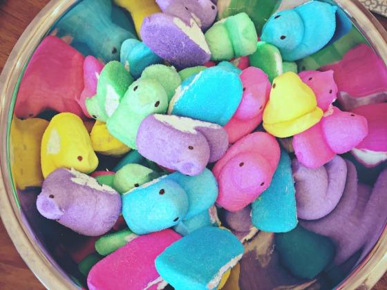 a bowl full of Peeps