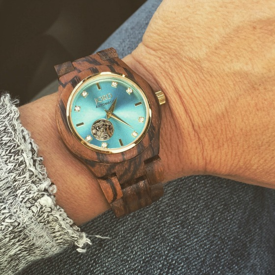 The Jord Cora in zebrawood and turquoise