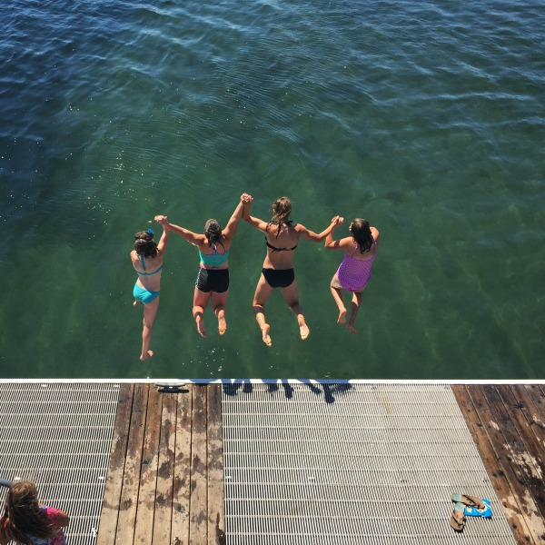 summer at the beach - jumping off the dock