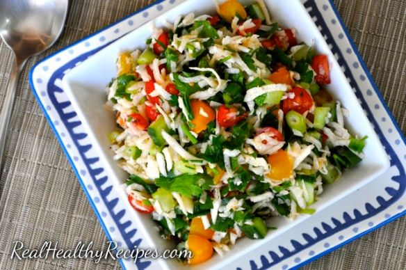 Jicama Tabbouleh (grain free): 7 Delicious Go-To Whole30 Meals via @jennyonthespot/jennyonthespot.com