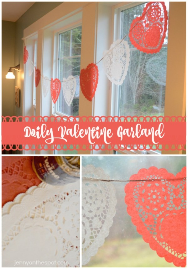 How to make a simple, heart doily Valentine garland! via jennyonthespot.com