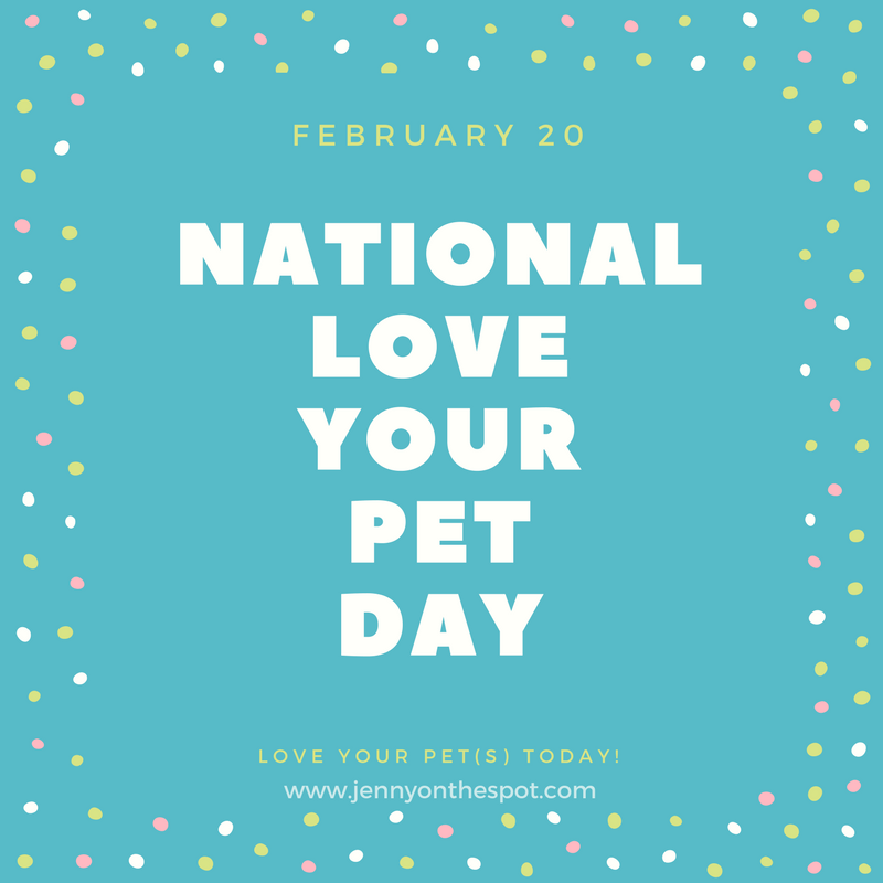 National Love Your Pet Day | jennyonthespot.com