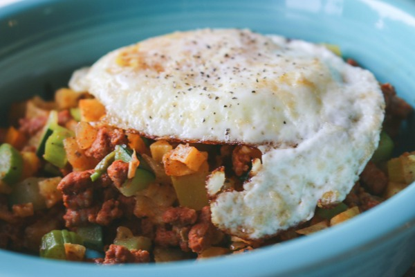 sweet potato and chorizo hash with egg on top