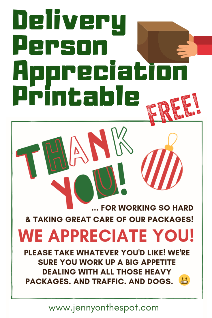 Delivery Person Appreciation Printable - Appreciate those hard working delivery folks during this, their busiest time of the year! #Christmas #gifting #holdiaycheer