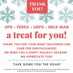 Delivery Person Holiday Appreciation - Free Printable | www.jennyonthespot.com