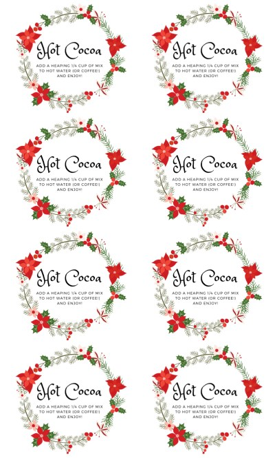 Christmas Wreath Hot Cocoa Labels Regular Lids