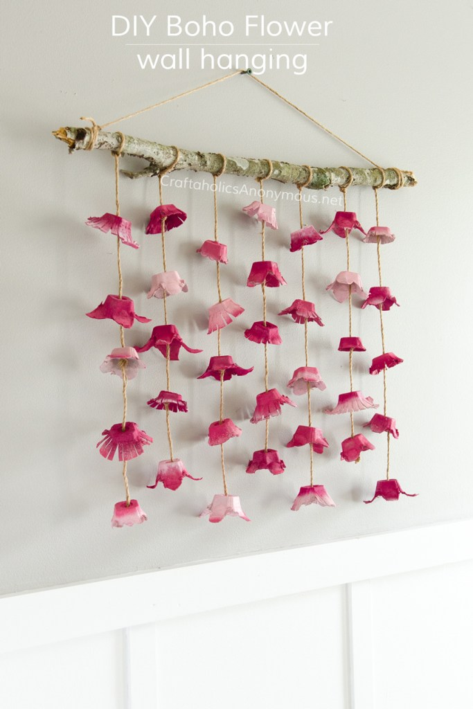 DIY Boho Flower wall hanging via Craftaholics Anonymous