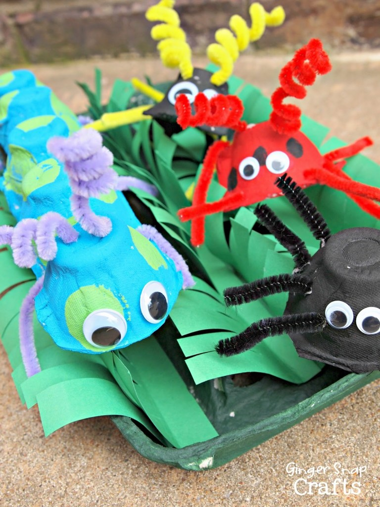 upcycled egg carton bugs via Gingersnap Crafts