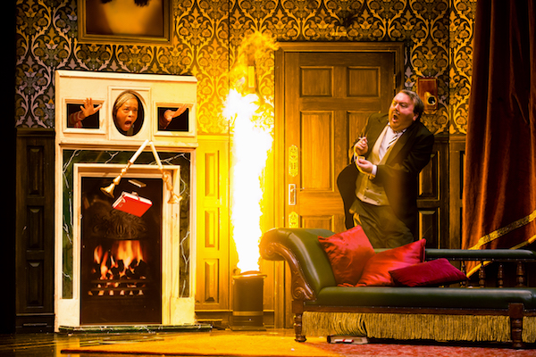 Angela Grovey and Scott Cote in The Play That Goes Wrong. Photo by Jeremy-Daniel.