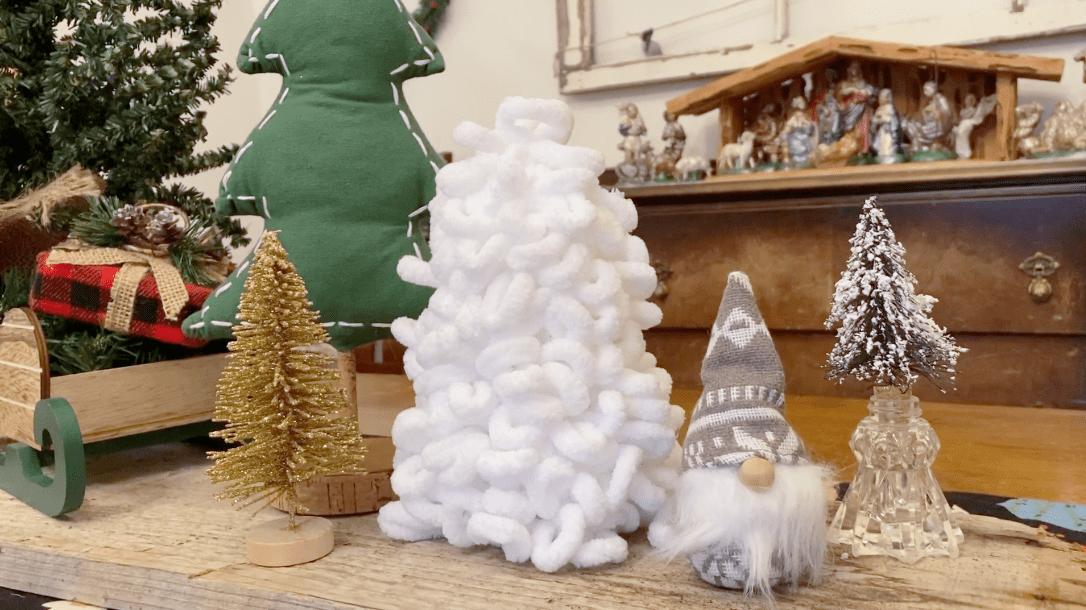 Styrofoam loop yarn Christmas tree