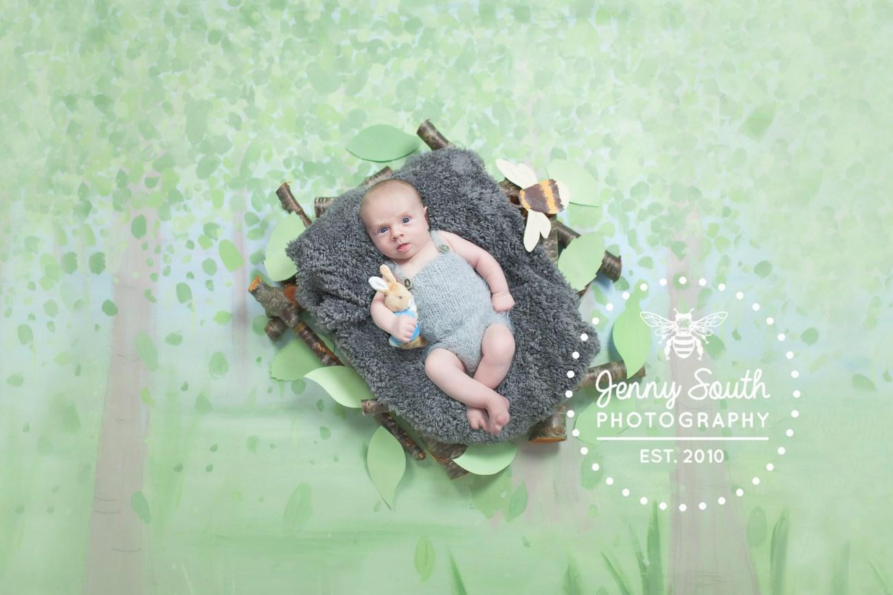 Woodland themed newborn photography