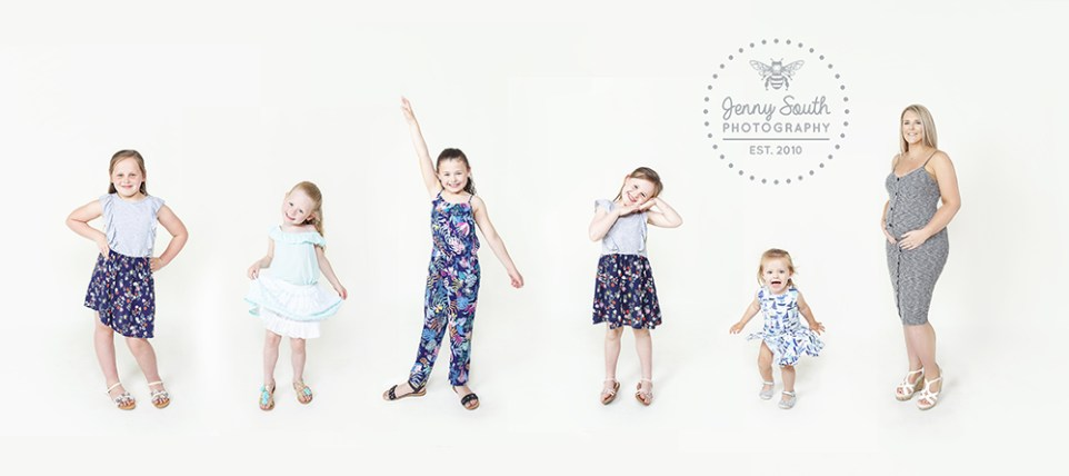 Five girls pose each showcasing their personalities included the 6th grandchild yet to be born