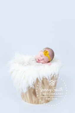 A newborn baby sleeps in a wooden bucket upon a grey background in a studio