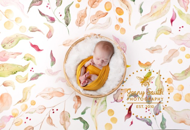 A sleeping baby is nestled into a piece of watercolour artwork surrounded by autumn leave of all the fall colours.