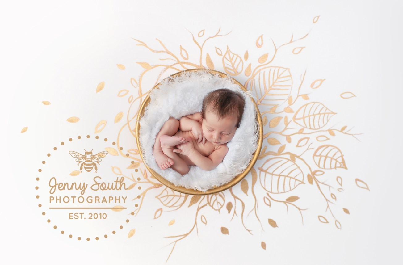 A newborn baby sleeps soundly in a golden bowl against a hand painted bespoke backdrop of gold leaf design