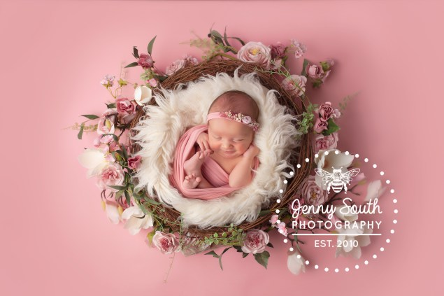 A beautiful newborn session in girly pink hues for little baby S
