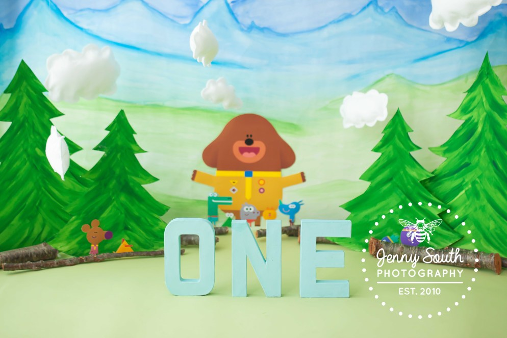 The letter O N E stand in front of a custom Hey Degge background for a little boys first birthday