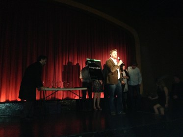 Director Christopher Alley accepting the Best Comedic Short Award for Alis Volat Propriis at the OIFF Awards Ceremony