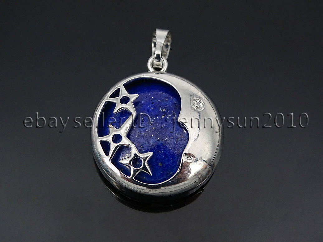 Natural Gemstone Round Silver Plated Stars And Moon