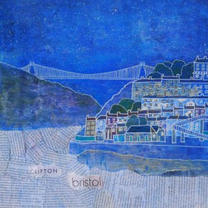 Clifton Suspension bridge spanning the river Avon made out of collage by Jenny Urquhart