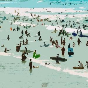 croyde surfers on the devon beach by jenny urquhart