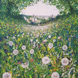 dandelions in leigh woods with a view of the clifotn suspension bridge by jenny urquhart